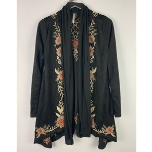 Monoreno Embroidered Waterfall Open Front Cardigan